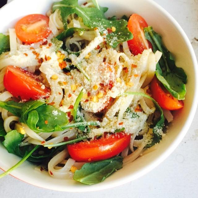 Parm udon noodles